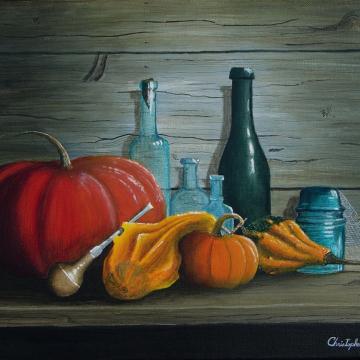 Christopher Lanser, still life, pumpkins