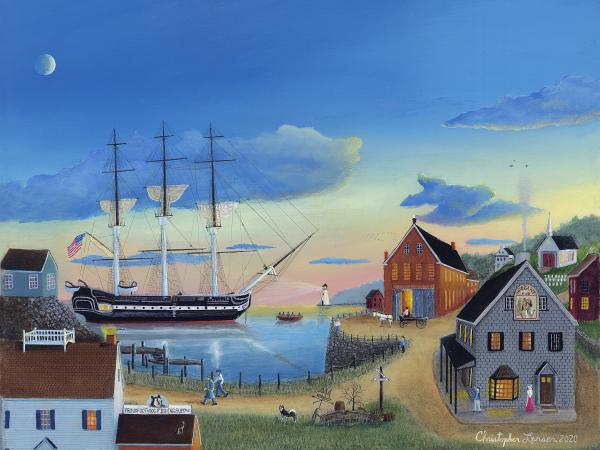 Christopher Lanser Fine Art, Morgan's Cove, Ship, Harbor