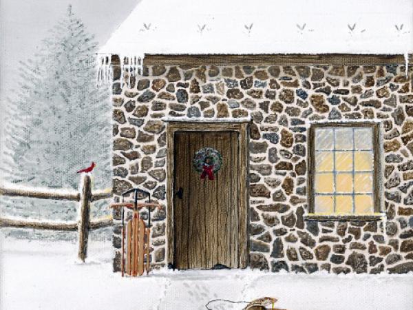 Christopher Lanser, springhouse, snow, sled