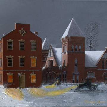 Christopher Lanser, Winter's Moon, Lancaster, Central Market,