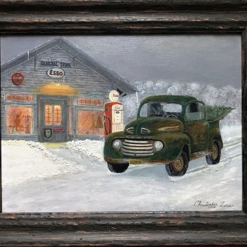 A Ford-Able Christmas 11 x 14 Oil on Canvas Panel