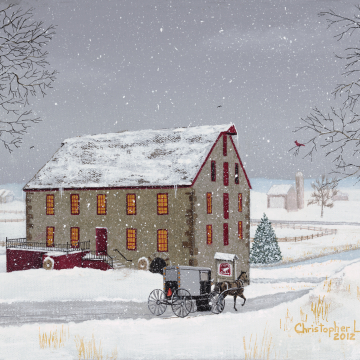 Print: Mid-Winter At White Horse Mill  11x14