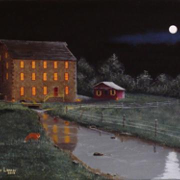 Print: Full Moon At White Horse Mill 8 x 10